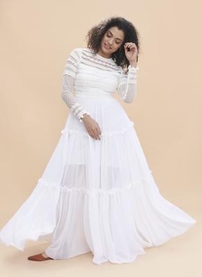 Khwaab White Lace Yoke Sheer Dress