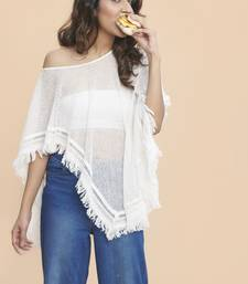 Buy Khwaab White Poncho Style One Shoulder Unstitched Top crop-top online
