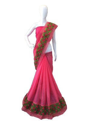 Pink Ribbon Flower Chiffon Saree With Blouse