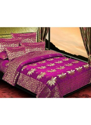 multicolor printed Soft Touch Fabric Double bed sheet and two pillow cover