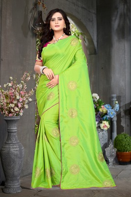 Parrot Green Embroidered Silk Saree With Blouse