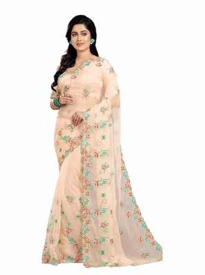 9d24cae3b4 Pink embroidered organza saree with blouse - Patang International ...