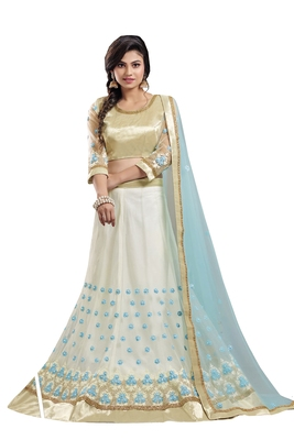White embroidered  net semi stitched lehenga with dupatta