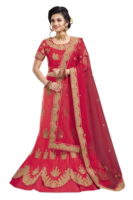 Red embroidered  satin semi stitched lehenga with dupatta