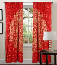 Indian Red Golden Big Flower Decorative Curtains Throw Hippie Tapestries Mandala Drapery