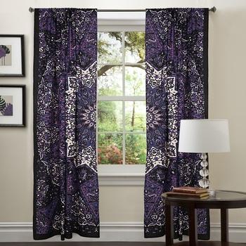 Star Mandala Window Curtains Net Sheer Drape Balcony Decor Home Curtain Bohemian