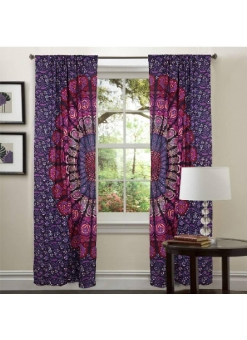 Boho Floral Mandala Curtains Net Sheer Drape Room Balcony Decor Window Curtain Vivina 2751566