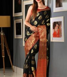 Buy Black Hand Woven Banarasi Cotton Saree With Blouse handloom-saree online
