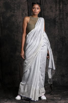 WHITE HAND WOVEN MATKA SILK SAREE WITH BLOUSE