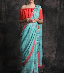 Buy Blue Hand Woven Linen Saree With Blouse handloom-saree online
