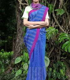 Buy Blue Hand Woven Cotton Saree With Blouse handloom-saree online