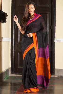Black Hand Woven Cotton Saree With Blouse