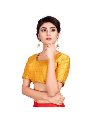 Yellow Dupion Silk Designer Padded Blouse