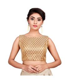 Gold Brocade Sleeveless Designer Padded Blouse