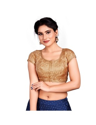 Gold Brocade Designer Padded Blouse