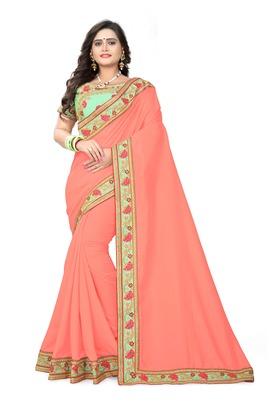 Peach embroidered faux silk saree with blouse