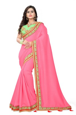 Dark pink embroidered faux silk saree with blouse