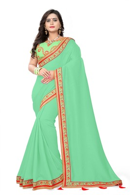 Sea green embroidered faux silk saree with blouse