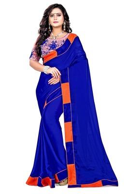 Dark blue plain faux silk saree with blouse