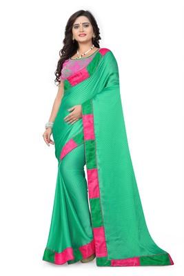 Light parrot green plain faux silk saree with blouse
