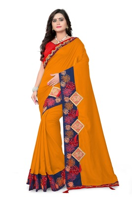 Dark mustard embroidered faux silk saree with blouse