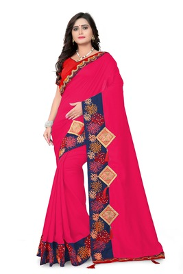 Dark rani pink embroidered faux silk saree with blouse