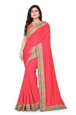 Dark rani pink embroidered silk saree with blouse