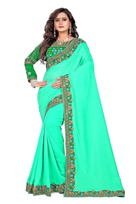 Light sea green embroidered faux silk saree with blouse
