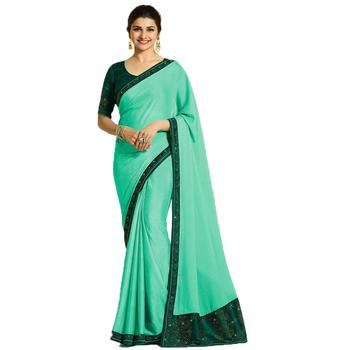 Sky blue art silk saree with blouse