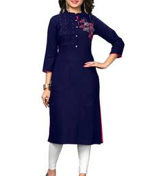 Blue embroidered rayon kurtis