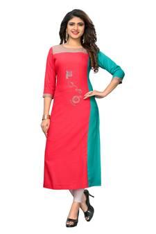 526068109ab Pink embroidered rayon kurtis