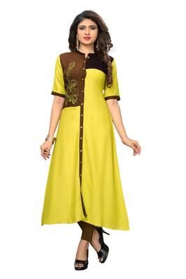 Yellow embroidered rayon kurtis