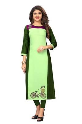 Light-green embroidered rayon kurtis