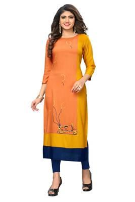 Orange embroidered rayon kurtis