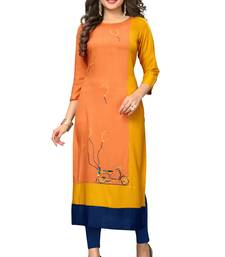 Orange embroidered rayon kurtis