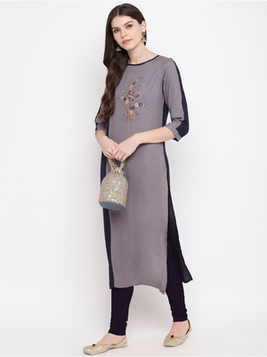 Grey embroidered rayon kurtis