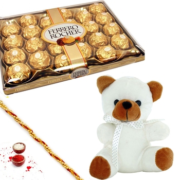 Aapno Rajasthan 24 Pc Ferrero Rocher Teddy Bear And Diwali Hamper