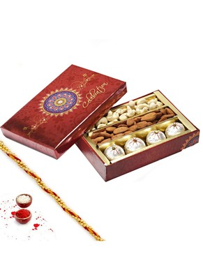 Aapno Rajasthan Decorated Box Of Kaju Laddoos , Dryfruits And 1 Diwali Message Card And 1 Silver Plated Coin
