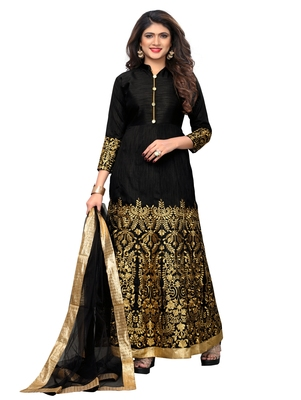 Black fancy silk semi stitched lehenga with dupatta
