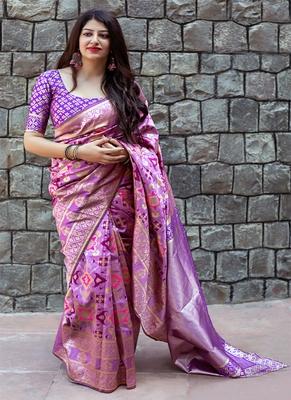 dc4eebdd2ce3b8 Monjolika Fashion Lavender woven silk saree with blouse - Monjolika ...