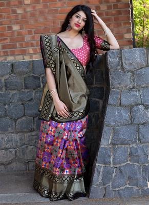 7494151dfff5d4 Monjolika Fashion Dark pink woven silk saree with blouse - Monjolika ...