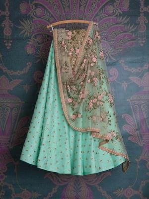 Sea Green Sequin Embroidered lehenga Choli with Dupatta