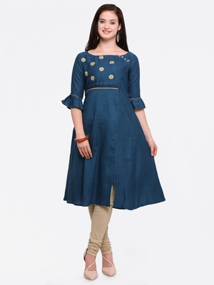 Dark-blue embroidered rayon kurtis