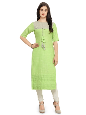 Light-green plain Khadi cotton kurtis
