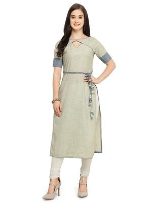 Off-white plain Khadi cotton kurtis