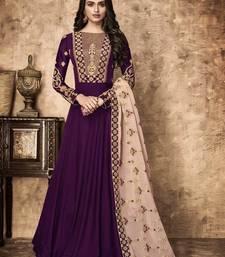 Buy Purple embroidered georgette salwar with dupatta party-wear-salwar-kameez online