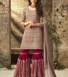 Beige embroidered georgette sharara with dupatta