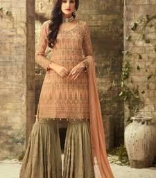 Buy Peach embroidered georgette sharara with dupatta sharara online