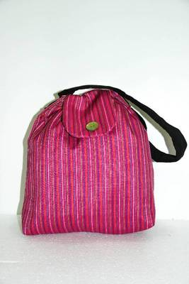 Pink Threaded Multiple Strips HandBag