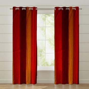 Fabzi Set of 2 Window Semi-Transparent Eyelet Polyester Curtains Maroon